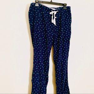 J. Crew - Navy Pajama Pants with Green Polkadots